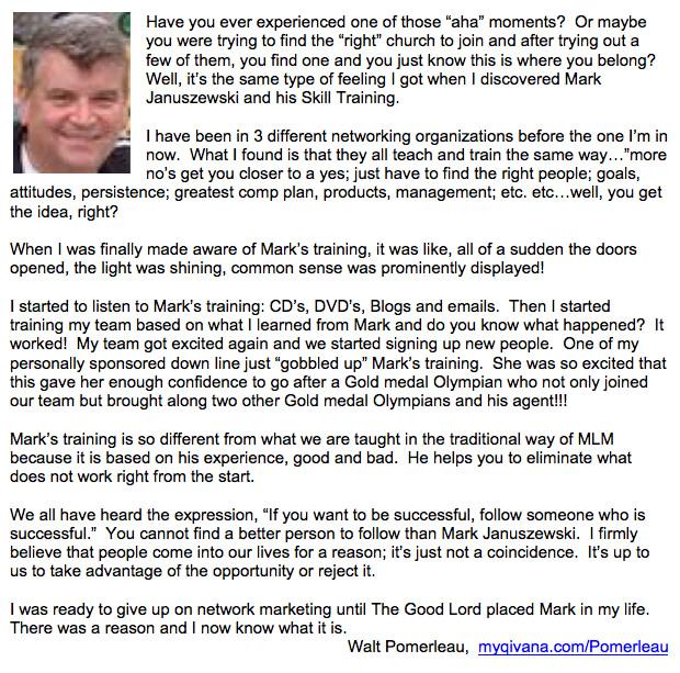 Walt Pomerleau Testimonial