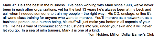 Tom Holden, MLM Million Dollar Earner